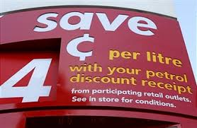 discount sign for 4 cents off petrol