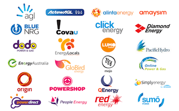 WATTever features every electricity retailer. This image shows the logos for 1st Energy, AGL, Blue NRG, Covau!, ActewAGL, Alinta Energy, Click Energy, Diamond Energy, Dodo Power and Gas, Energy Locals, Lumo Energy, Momentum, Energy Australia, Globird Energy, Mojo Power, Online Power and Gas, Origin Energy, Powershop, Powerdirect, QEenergy, People Energy, Red Energy, Simply Energy and Sum Power.