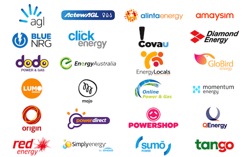 WATTever features every electricity retailer. This image shows the logos for 1st Energy, AGL, Amaysim energy, Blue NRG, Covau!, ActewAGL, Alinta Energy, Click Energy, Diamond Energy, Dodo Power and Gas, Energy Locals, Lumo Energy, Momentum, Energy Australia, Globird Energy, Mojo Power, Online Power and Gas, Origin Energy, Powershop, Powerdirect, QEnergy, People Energy, Red Energy, Simply Energy , Sumo Power and Tango Energy.