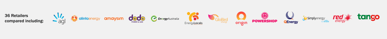 WATTever compare every electricity retailer including 1st Energy, AGL, ActewAGL, Alinta Energy, Amaysim, Blue NRG, click energy, Covau, Diamond Energy, dodo power & gas, Energy Australia, Energy Locals, GloBird Energy, Lumo Energy, Mojo Power, Origin Energy, Powerdirect, Powershop, QEnergy, Red Energy, Simply Energy, Sumo Power and Tango Energy.