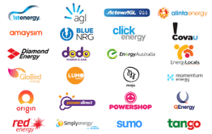 WATTever compares every electricity retailer including 1st Energy, AGL, ActewAGL, Alinta Energy, Amaysim, Blue NRG, click energy, Covau, Diamond Energy, dodo power & gas, Energy Australia, Energy Locals, GloBird Energy, Lumo Energy, Mojo Power, Origin Energy, Powerdirect, Powershop, QEnergy, Red Energy, Simply Energy, Sumo Power and Tango Energy.