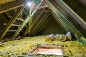 Ceiling insulation reduces heating and cooling costs