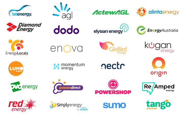 WATTever compares 55 electricity and gas retailers including AGL, ActewAGL, Alinta Energy, Blue NRG, Covau, DC Power Co, Diamond Energy, dodo power, Energy Australia, Energy Locals, GloBird Energy, Kogan Energy, Lumo Energy, Mojo Power, nectr, Origin Energy, OVO energy, Powerdirect, Powershop, QEnergy, ReAmped Energy, Red Energy, Simply Energy, Sumo Power and Tango Energy